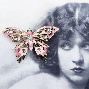 Vintage pink enamel & rhinestone butterfly brooch
